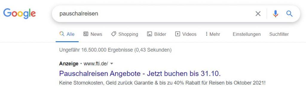 Google Ads Suchanzeige