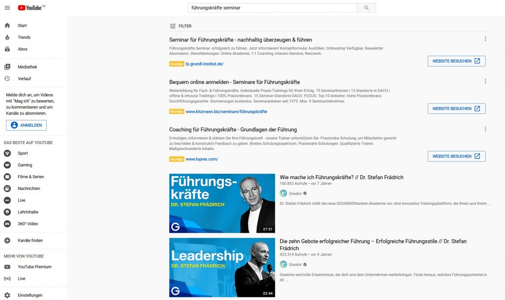 youtube google ads werbung
