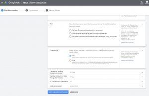 Google Ads Conversion Tracking Aktion auswählen
