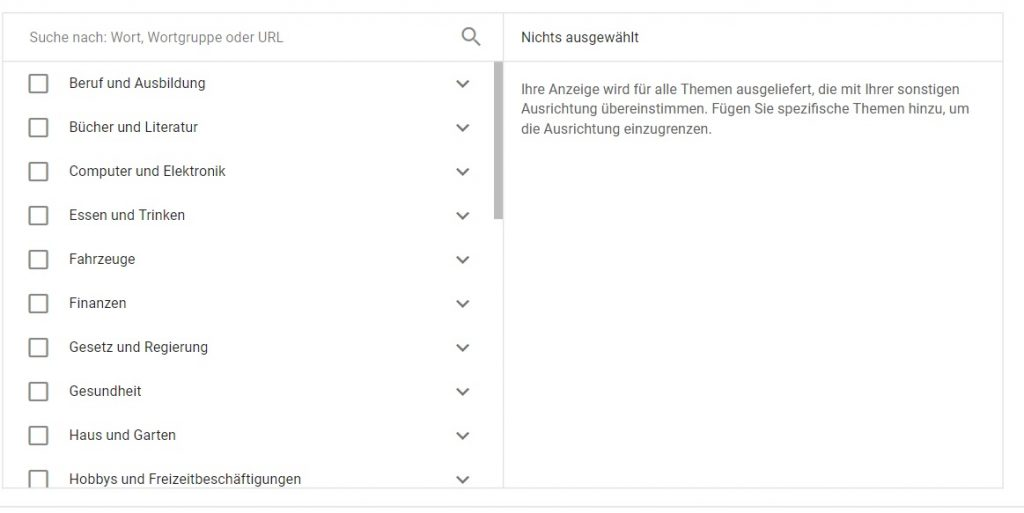 Google Displaynetzwerk Targeting Themen