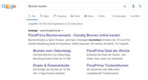 Google Werbung Suchanzeige Beispiel
